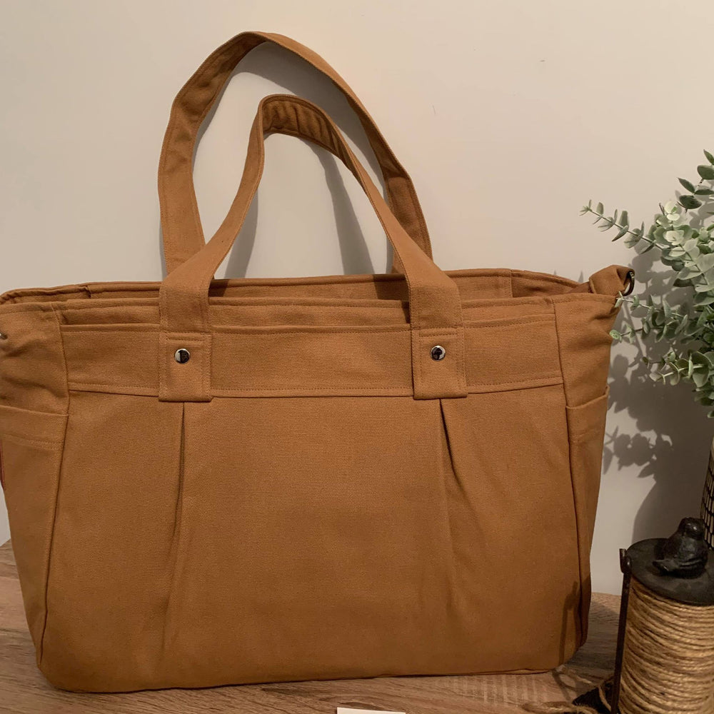Caramel Tan A3 Teacher Carry All bag in cotton canvas - Teacher Carry All