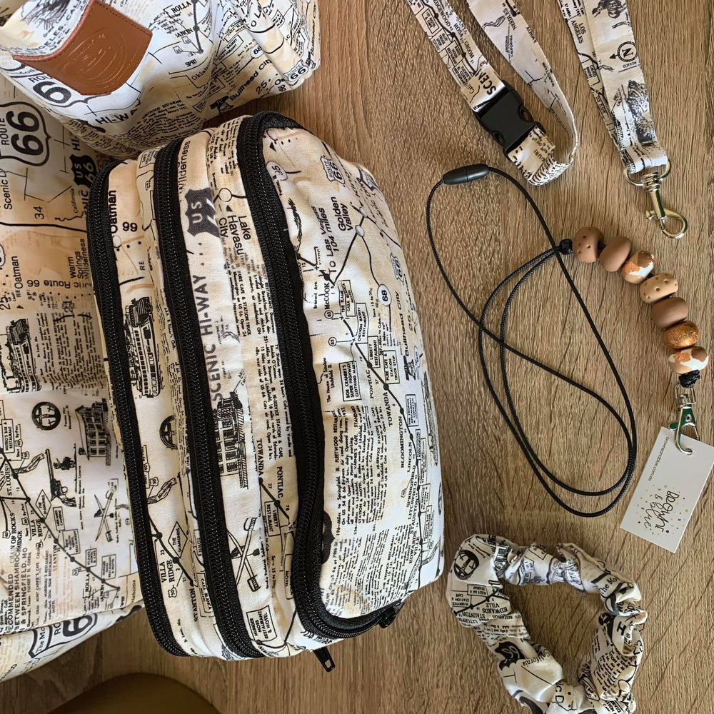 Route 66 Collection - 3 pocket mini Teacher Bag, limited edition Pencil Case, duty bag, polished cotton