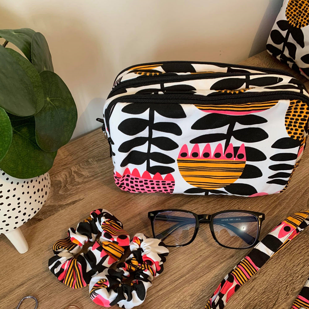 Retro Floral Hot Pink, Black & Mustard tones - Mini Teacher Bag, Pencil Case, duty bag, toiletry bag