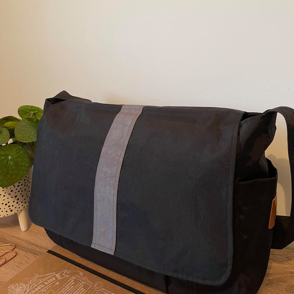 The Work bag Water Resistant Black with a grey stripe, laptop bag,student bag, Teacher bag