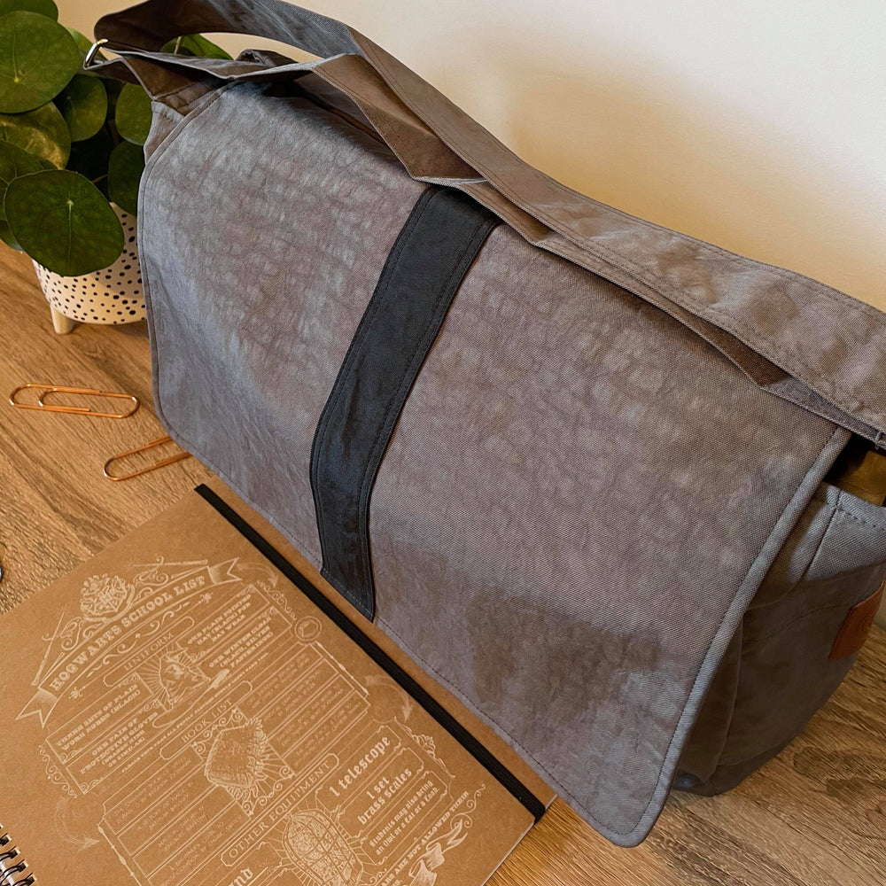 The Work Bag Teacher Satchel, Water Resistant Grey with black stripe laptop bag,student bag - Teacher Carry All