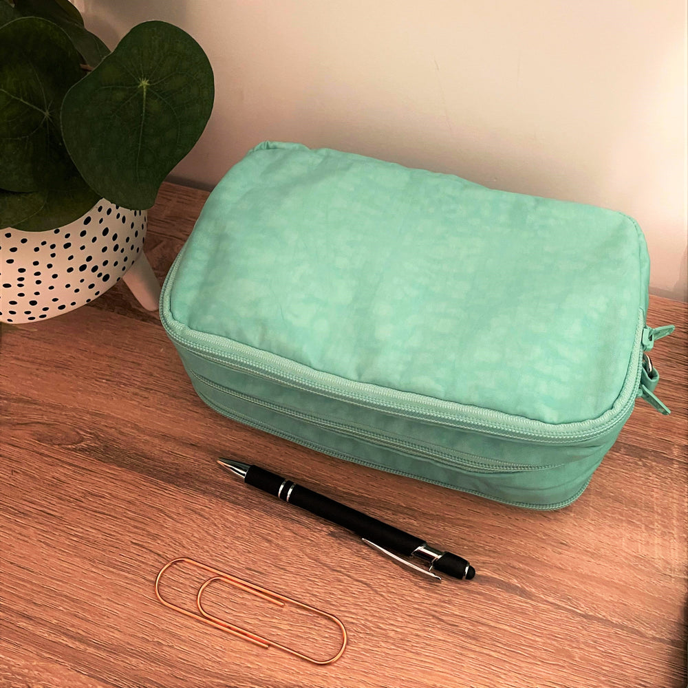 Mint Green -Mini Teacher Bag, Pencil Case, duty bag, toiletry bag water resistant