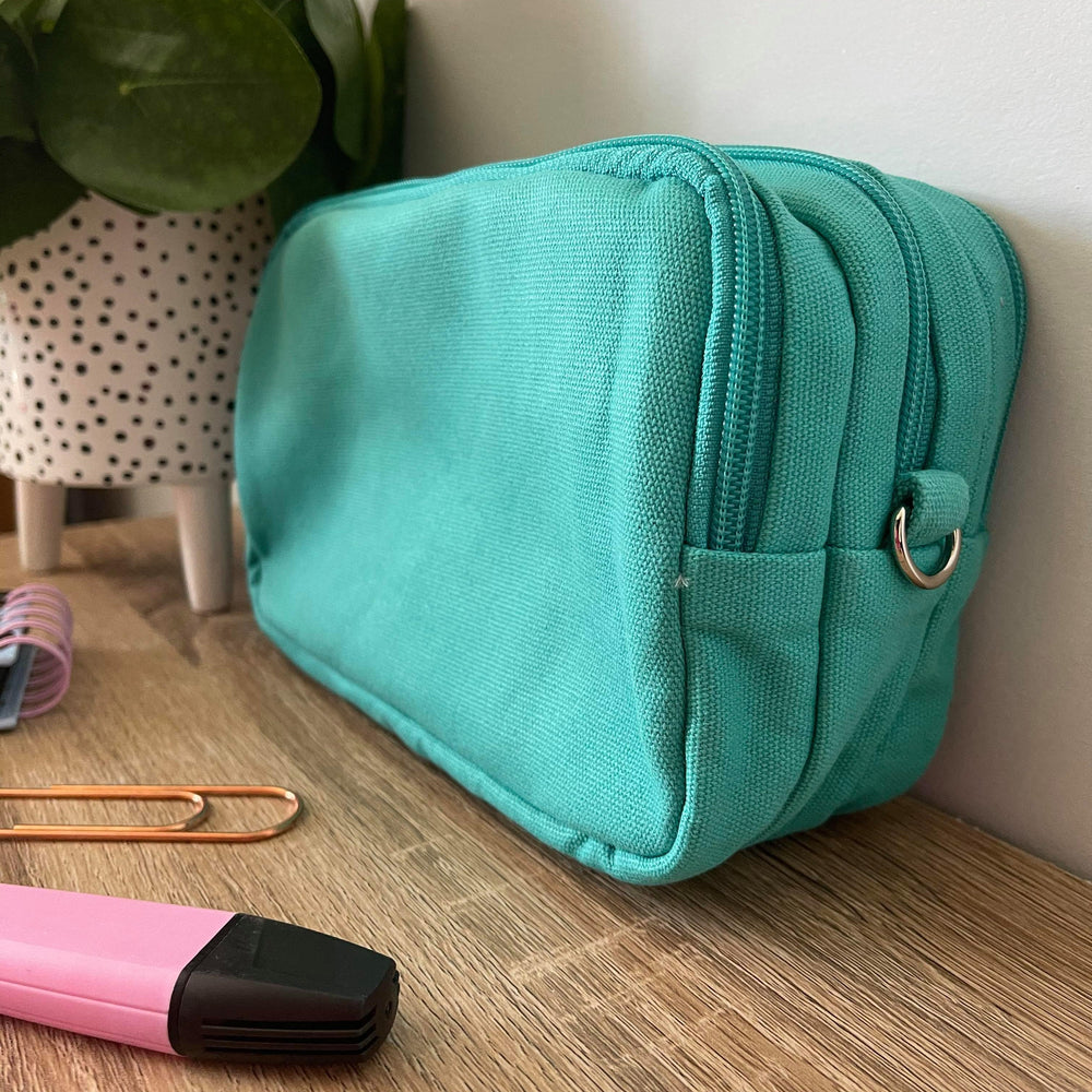 Turquoise Collection -Mini Teacher Bag, Pencil Case, duty bag, toiletry bag cotton canvas - Teacher Carry All