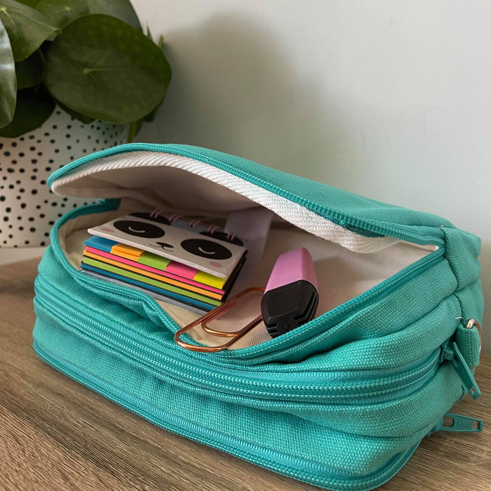 Aqua Blue -Mini Teacher Bag, Pencil Case, duty bag, toiletry bag cotton canvas