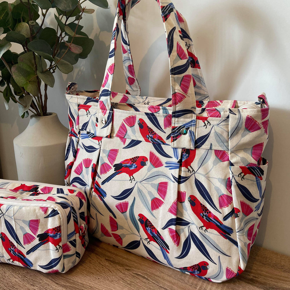 Rosella & Gum Blossom Collection with Organic Linen look background Teacher Carry All bag A4 capacity