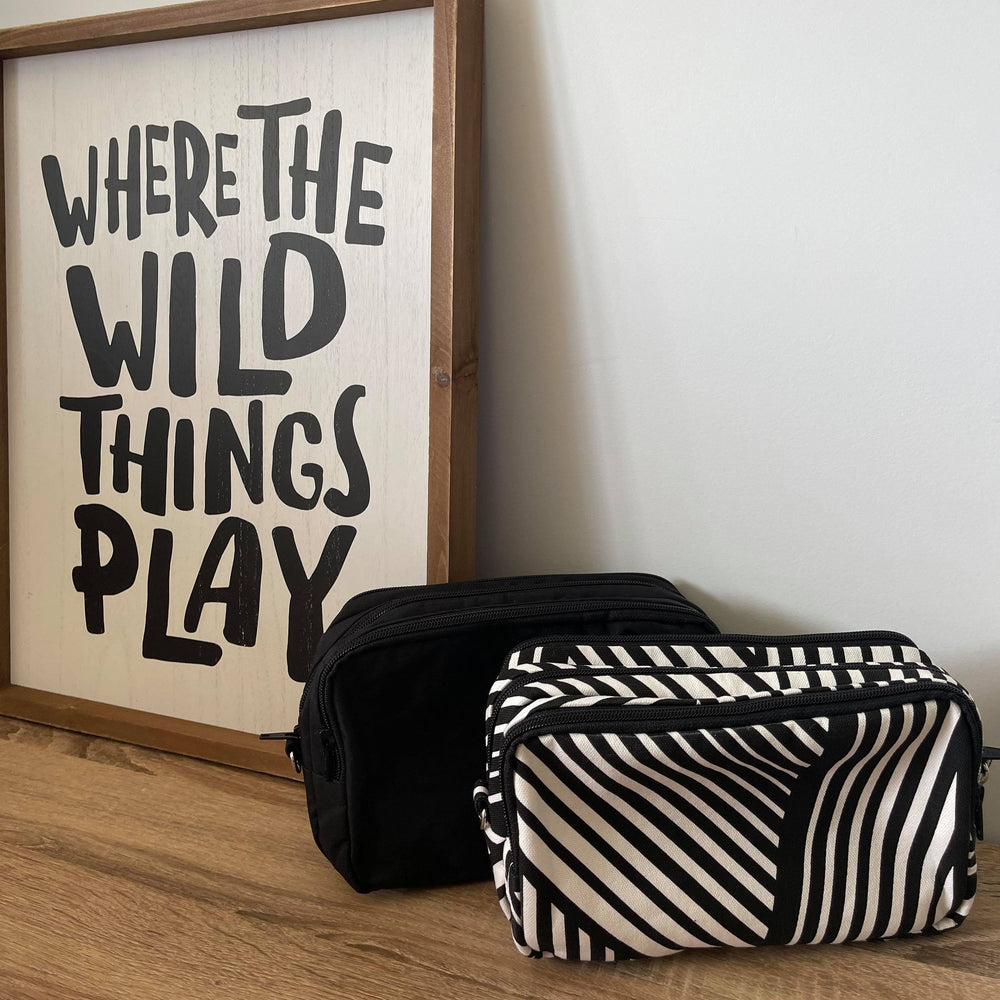 Wild Things Black & White Graphic - 3 pocket mini Teacher Bag, Pencil Case, duty bag, cotton canvas - Caramel