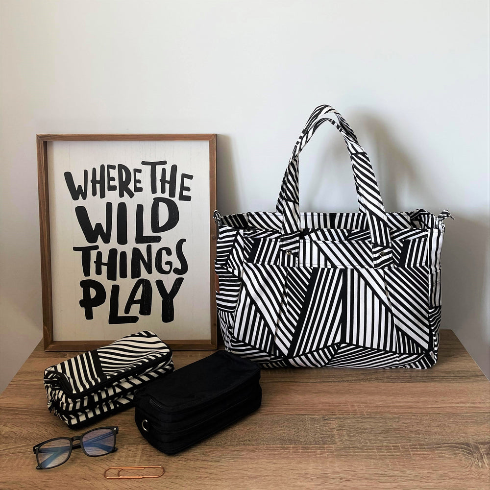 Wild Things Black & White Graphic Limited Edition Release - Teacher Carry All bag A4 Cotton Canvas