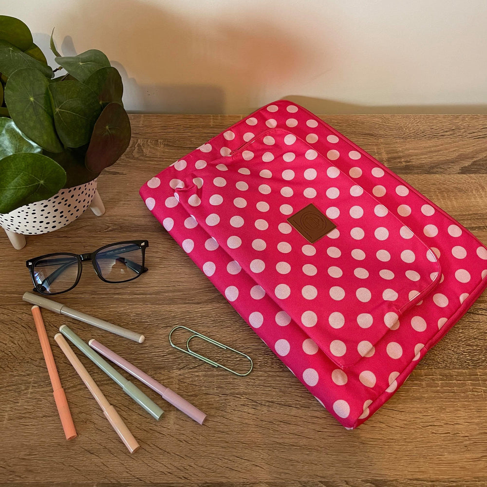 Pink & White Polka Dot Tech Sleeve & Organiser Padded Limited Edition Water Resistant Cotton Canvas