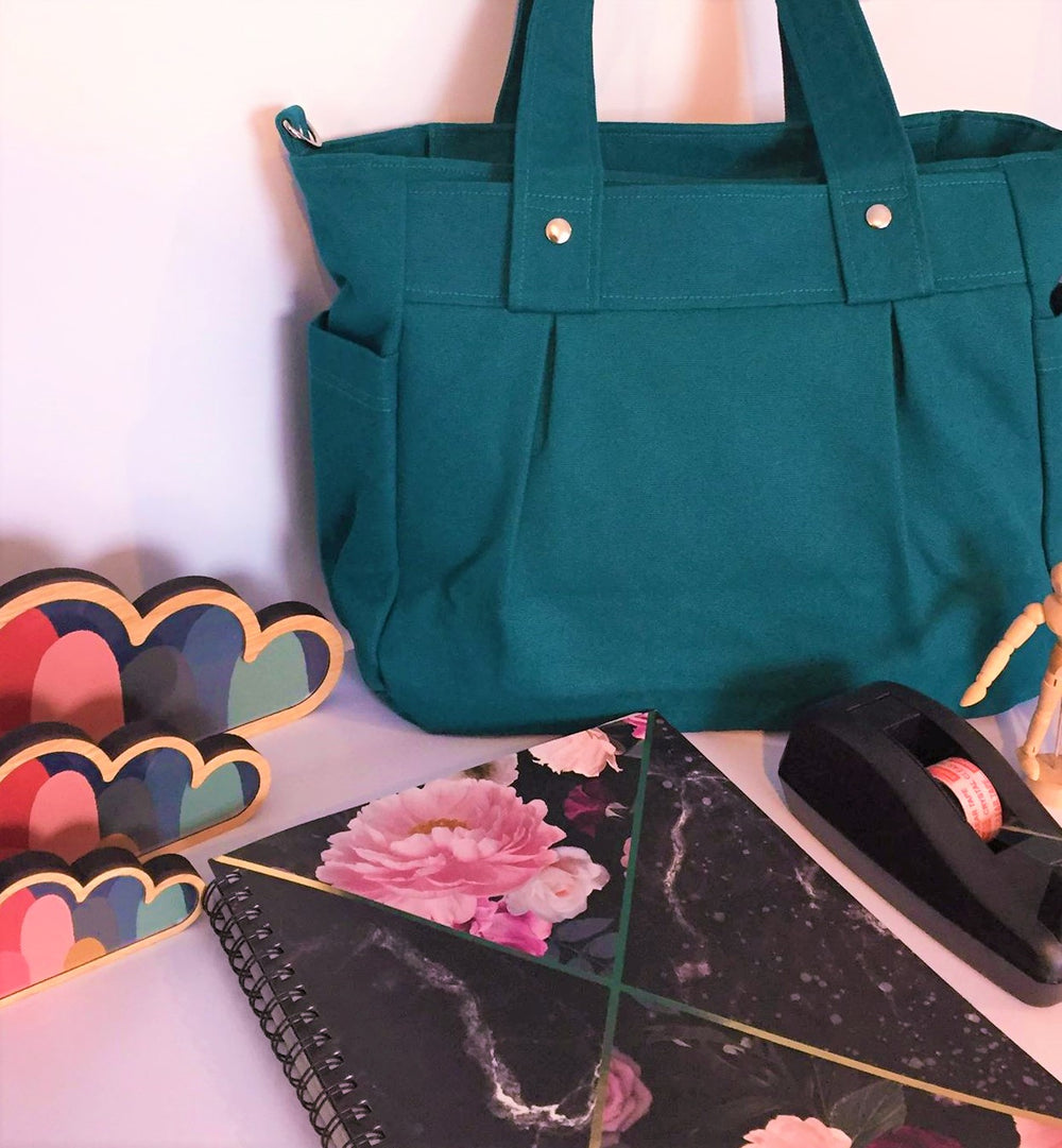 Teal Teacher Carry All Bag, Teacher Bag in A4 Cotton Canvas - Teacher Carry All
