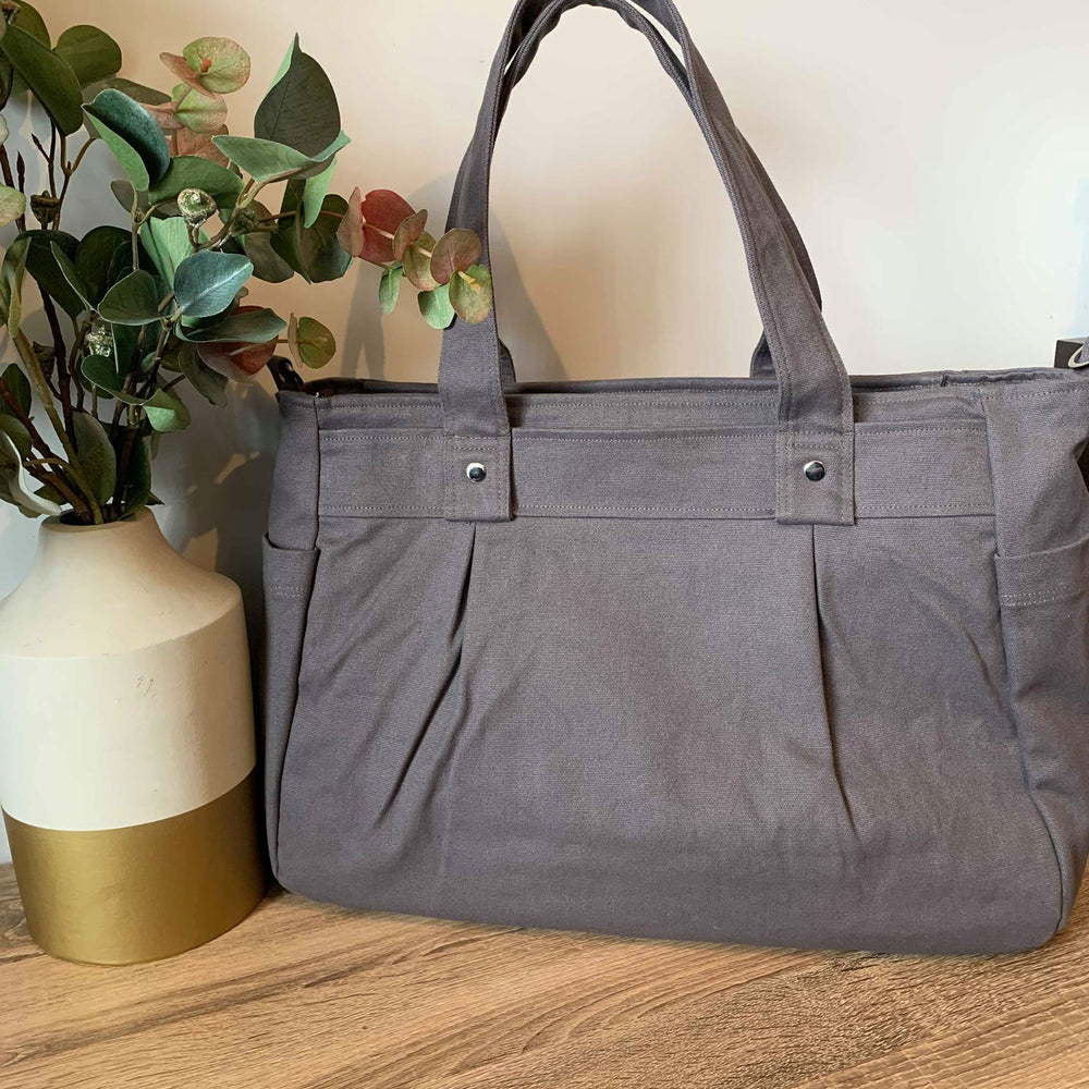 Grey A3 Teacher Carry All bag in cotton canvas