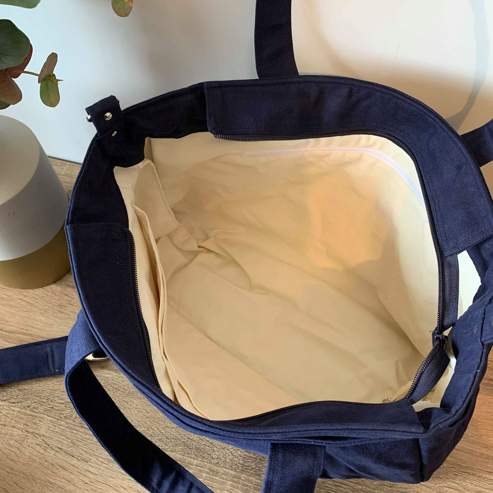 Navy Cotton Canvas Teacher Carry All bag, Teacher bag - A4 - Teacher Carry All