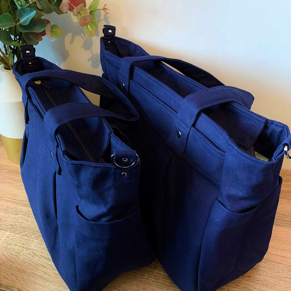 Navy cotton canvas Teacher Carry All bag in A3 XL - Teacher Carry All