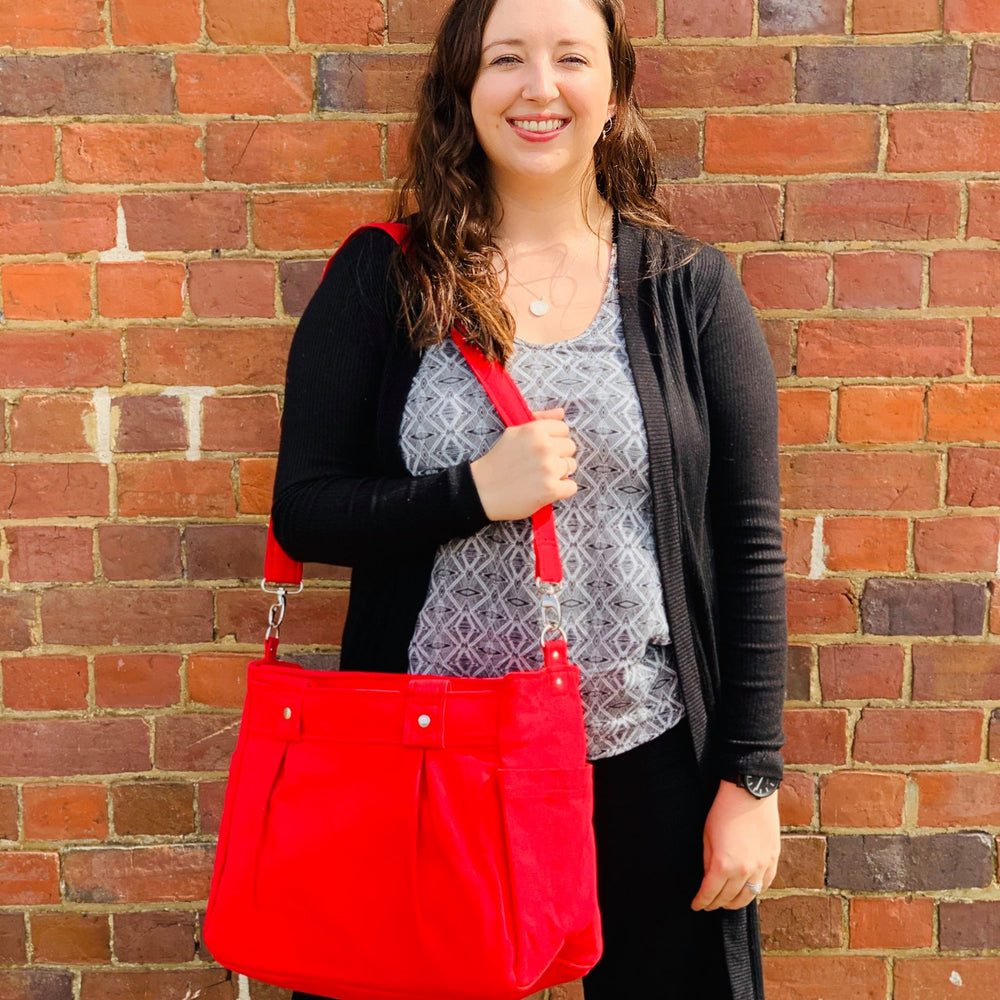 Red Teacher Carry All bag, Teacher bag, Teacher Tote - Cotton Canvas