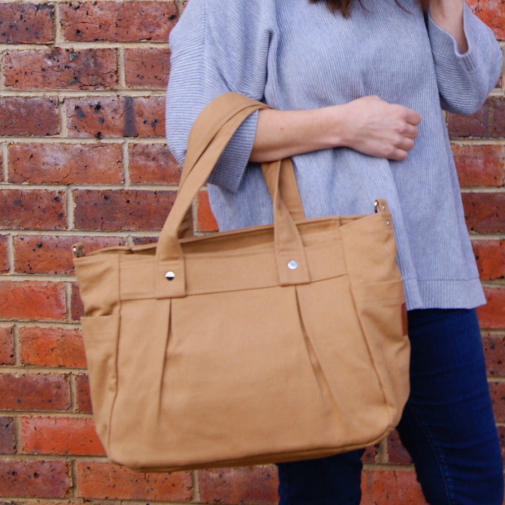 Teacher Carry All bag, Teacher bag - Caramel Cotton Canvas
