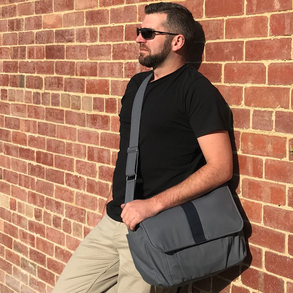 "Men's Work Bag, Grey with black stripe laptop bag,student bag, Real man bag - ""Joel"" - Teacher Carry All"