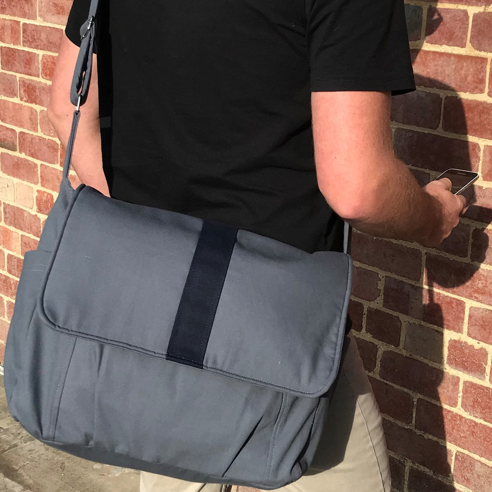 "Real Man Bag, Grey with black stripe laptop bag,student bag, man bag - ""Joel"""