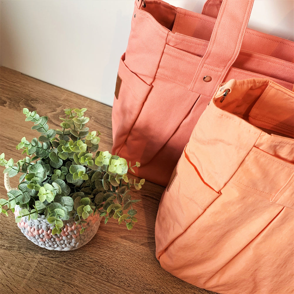 Salmon Pink/Apricot Teacher Carry All bag - Cotton Canvas