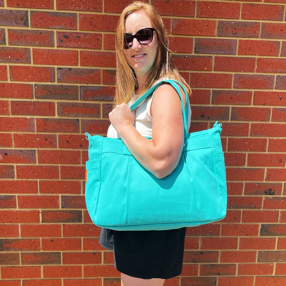 Turquoise Teacher Carry All bag -cotton canvas A4 size - Teacher Carry All