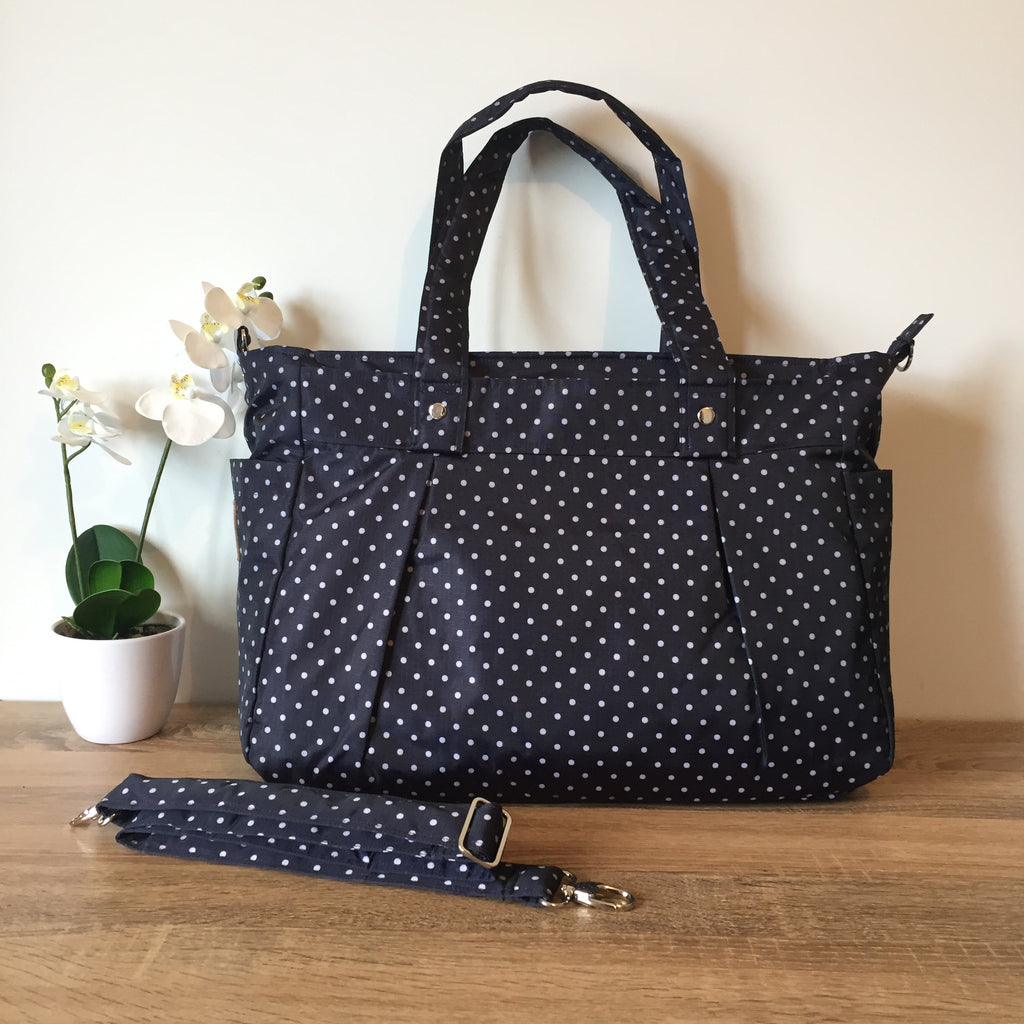 Limited Ed. Large Navy Blue & White Polka Dot Teacher Carry All bag-Teacher Bag-Teacher Carry All