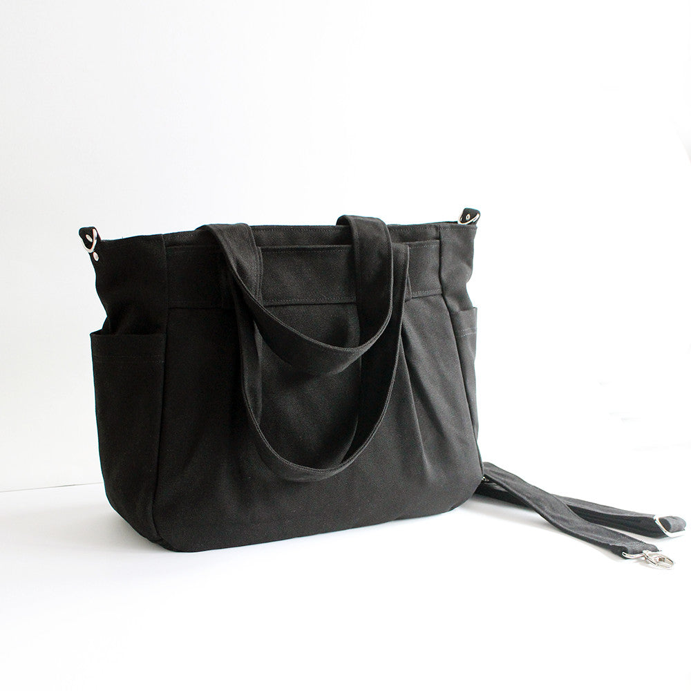 Teacher Carry All bag,Teacher bag- Black Cotton Canvas-Teacher Bag-Teacher Carry All