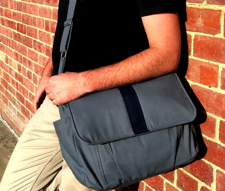 The Work Bag Teacher Satchel, Grey with black stripe laptop bag,student bag, - Teacher Carry All