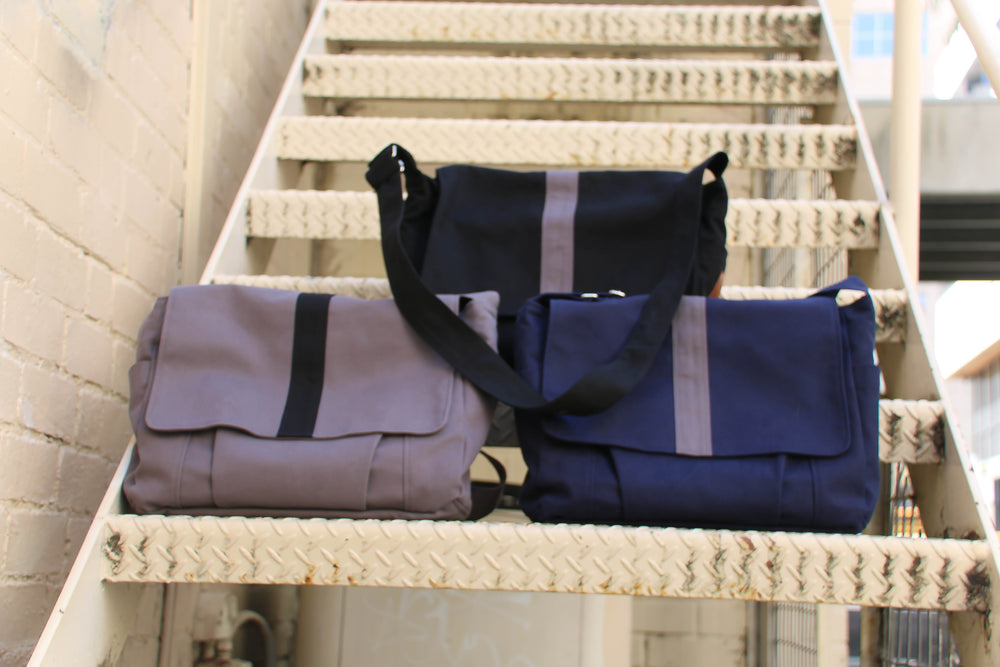 The Work bag Teacher Satchel in Navy Blue Cotton Canvas, Messenger bag, Satchel, laptop bag,student bag, teacher bag - Teacher Carry All