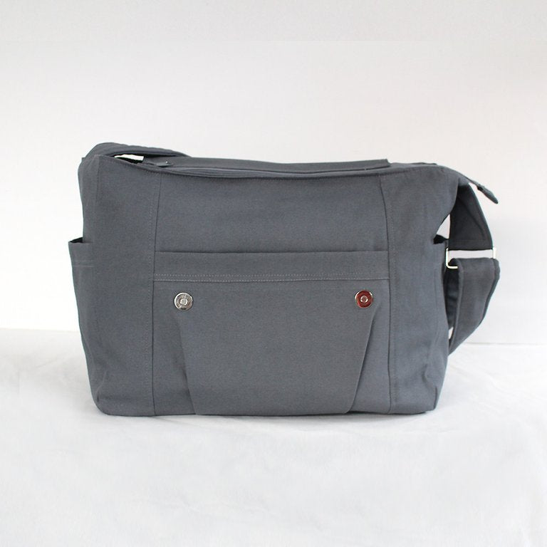 "Real Man Bag, Grey with black stripe laptop bag,student bag, man bag - ""Joel"" - Teacher Carry All"