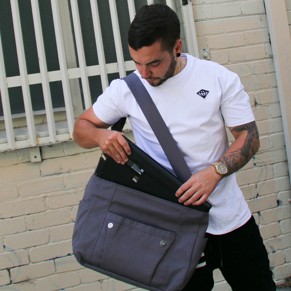 "Men's Work bag Black with grey stripe, laptop bag,student bag, Teacher bag - ""Kav"" - Teacher Carry All"