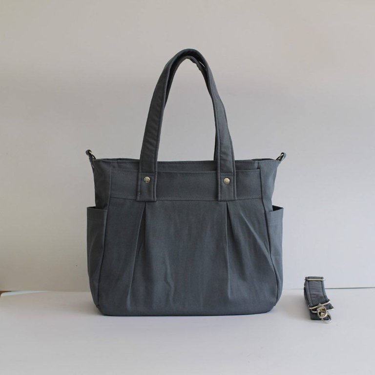Teacher Carry All bag, Teacher bag - Grey Cotton Canvas - Teacher Carry All