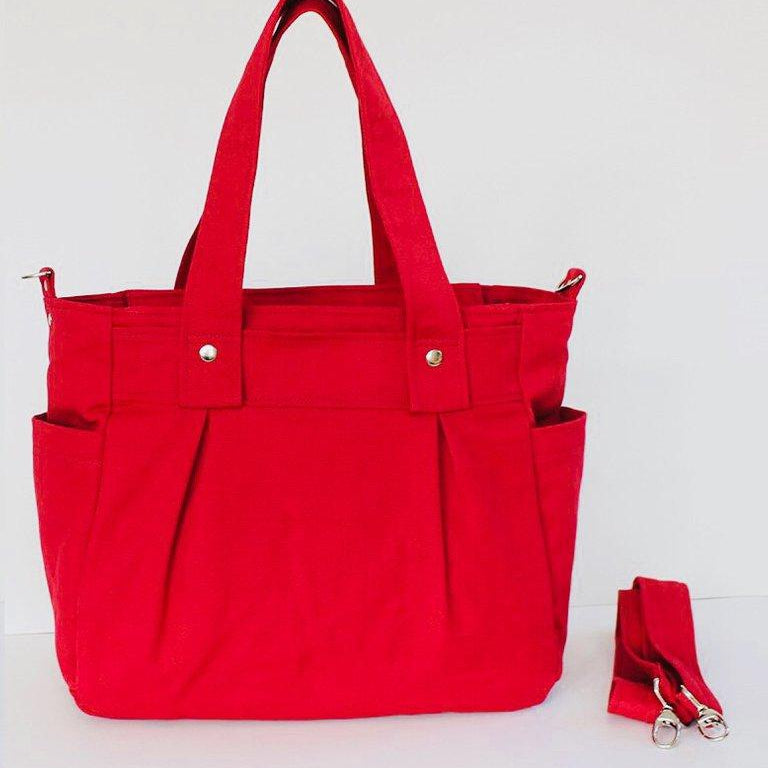Red Teacher Carry All bag, Teacher bag, Teacher Tote - Cotton Canvas - Teacher Carry All