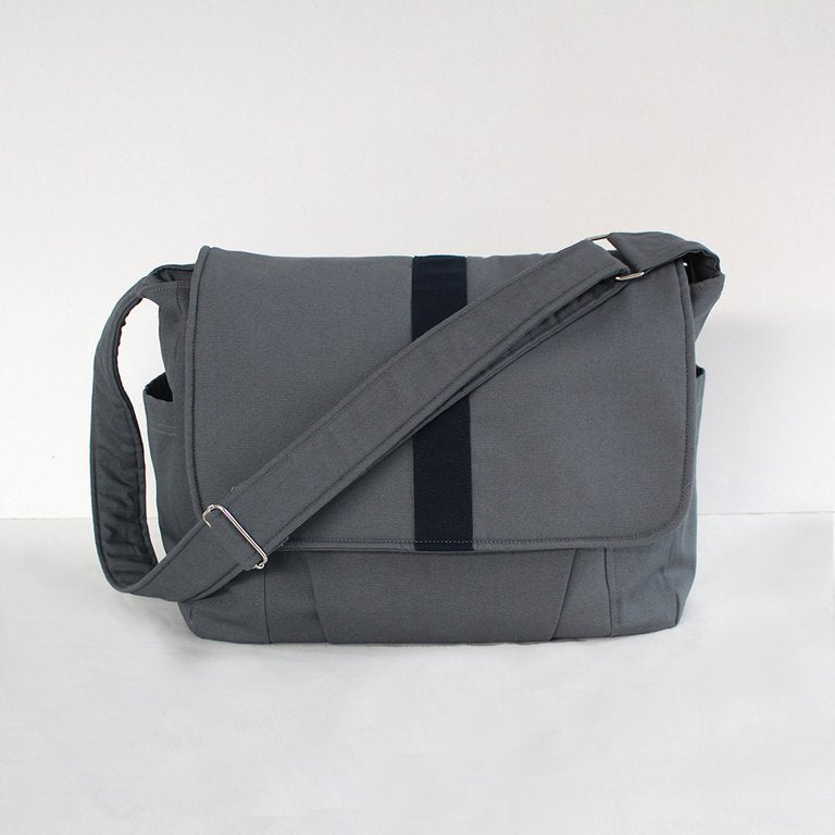 Teacher Satchel, laptop bag,student bag- Grey with black stripe-Satchel-Teacher Carry All