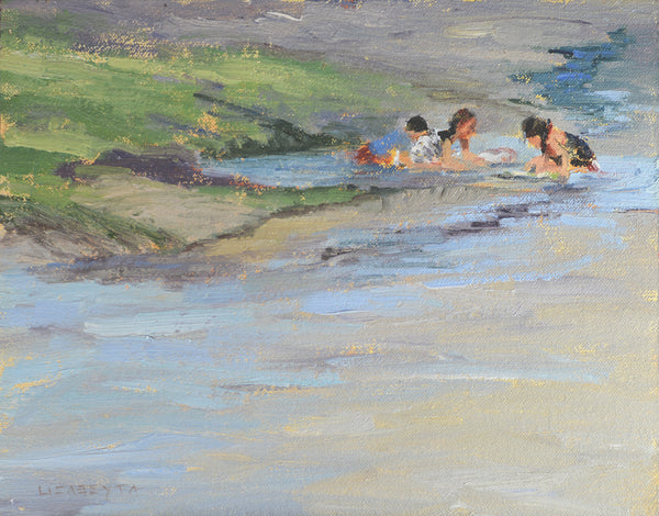 """Playing in the Tide Pool"" painting by Liz Abeyta"