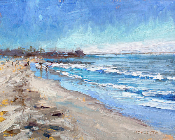 """Sunny Winter Day in Ocean Beach"" painting by Liz Abeyta"