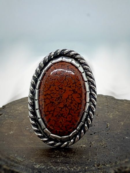 Traditional Southwest Ring with Dinosaur Bone Cabochon
