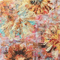 """Flower Bursts"" Mixed Media on Canvas Using Found Objects"