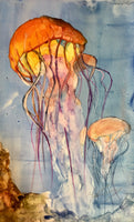 """Jellies Rising"" Original Watercolor on Yupo paper"
