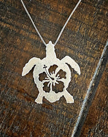 Honu with Hibiscus Pendant by Joe McFaul