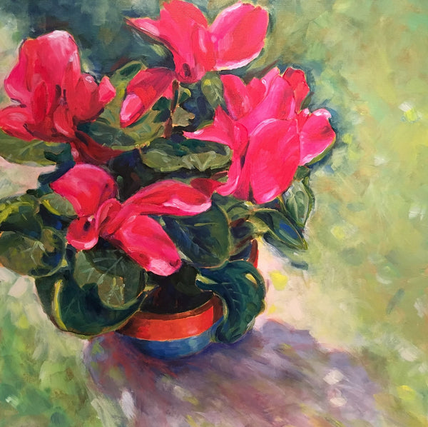 """You look good in pink"" painting by Marcia Hoeck"