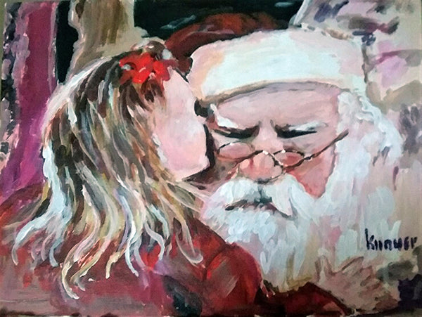 """Visiting Santa"" Giclee Print from Original"
