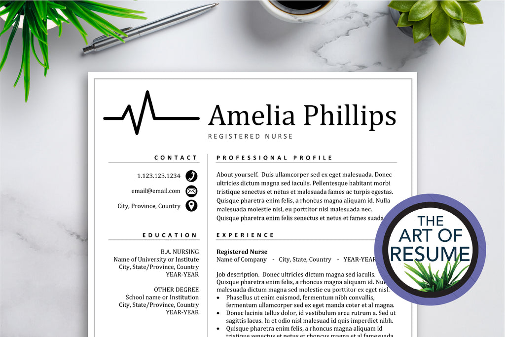RN Nursing Resume Template Design - $5.25 - The Art of Resume with Free Cover Letter