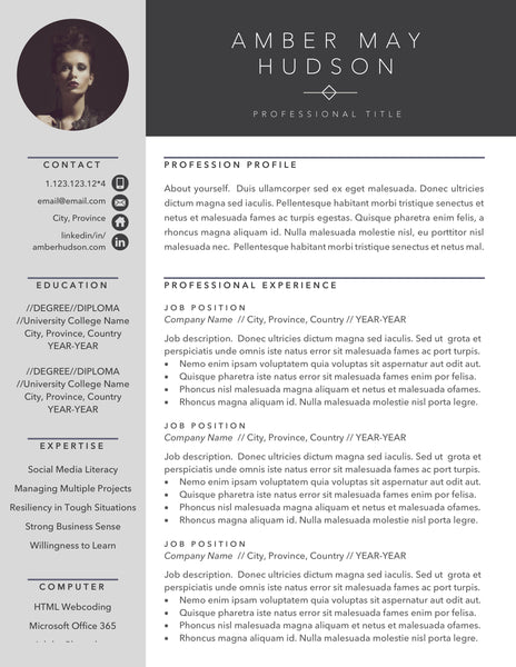 free professional resume template with photo insert, modern resume format for microsoft word and apple pages, modern cover letter format, free cover letter download, modern cv template design with picture profile