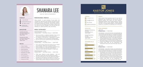 resume template templates cv resumes modern professional executive cvs