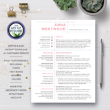 One Page Pink Resume CV Design with Free Cover Letter, Fully Customizable Printable, Instant Download