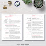 Two Page Pink Resume CV Design with Free Cover Letter, Fully Customizable Printable, Instant Download