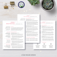 Three Page Resume Template Design for Microsoft Word and Apple Pages- Resume and Free Cover Letter