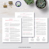 Three Page Pink Resume CV Design with Free Cover Letter, Fully Customizable Printable, Instant Download