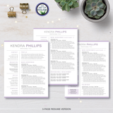 3 Page Professional Resume CV Template Bundle with Cover Letter