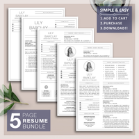 Resume Template with Photo Insert | CV with Free Cover Letter