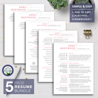Pink Resume CV Design with Free Cover Letter, Fully Customizable Printable, Instant Download