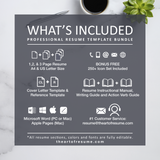 What is included in your resume bundle - The Art of Resume - Resume Template Design Bundle with Free Cover Letter, Resume Writing Manual, and Resume Action Verb Guide